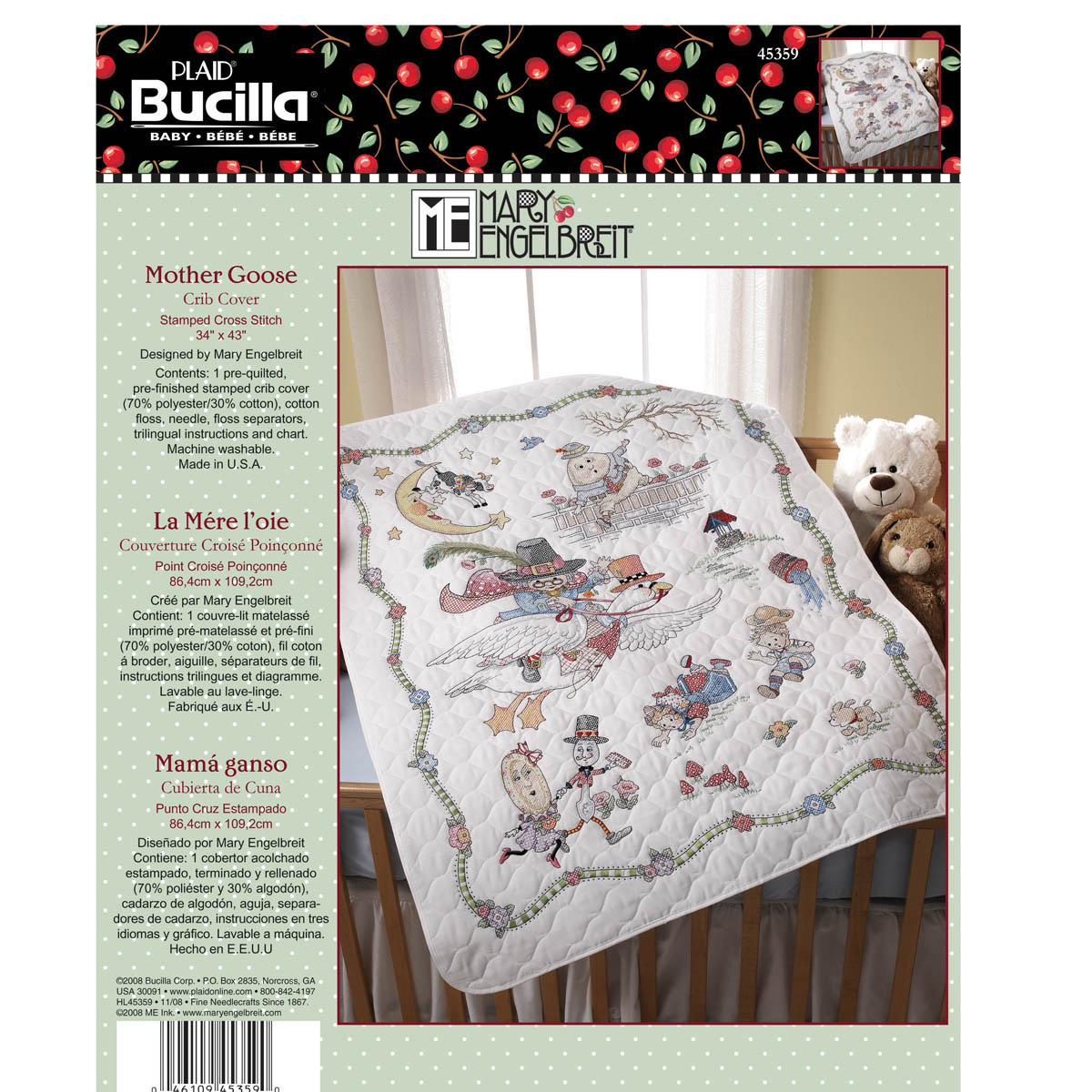 Bucilla ® Baby - Stamped Cross Stitch - Crib Ensembles - Mary Engelbreit™ - Mother Goose - Crib Cove