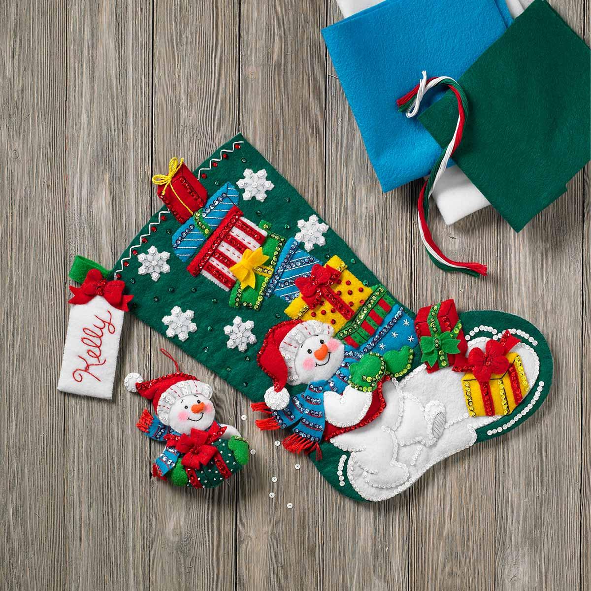 Bucilla ® Seasonal - Felt - Stocking Kits - Snowman With Presents - 86864