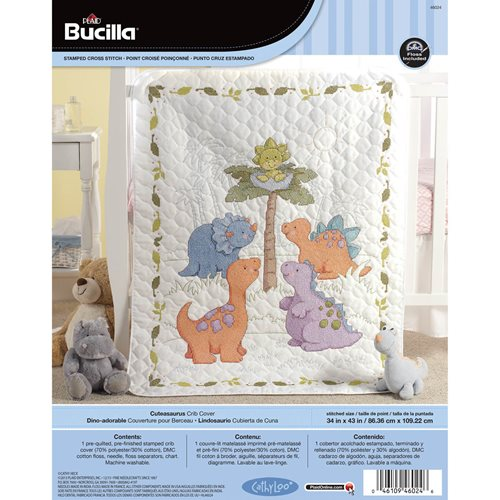 Bucilla ® Baby - Stamped Cross Stitch - Crib Ensembles - Cute-A-Saurus - Crib Cover