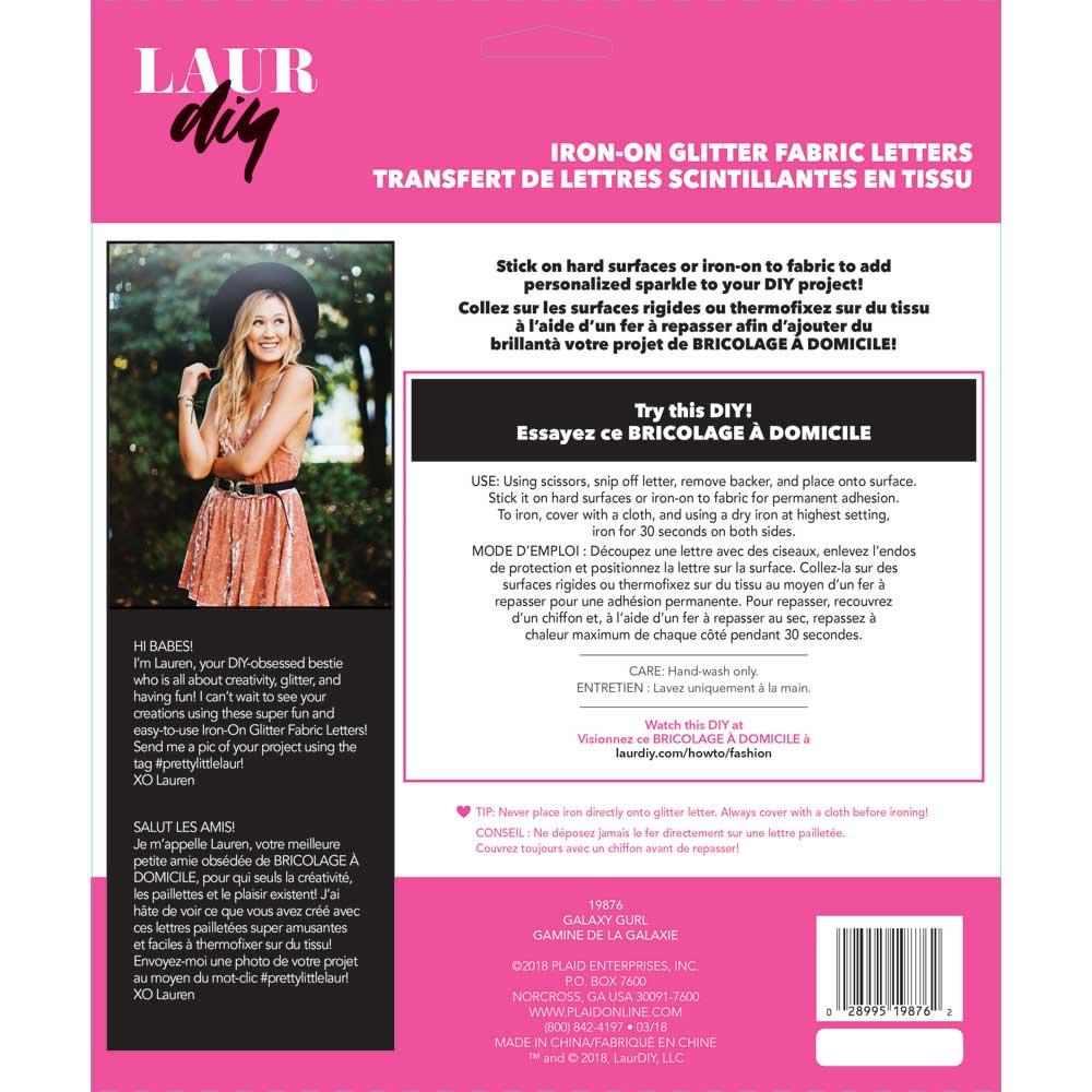 LaurDIY ® Iron-on Glitter Fabric Letters - Galaxy Gurl