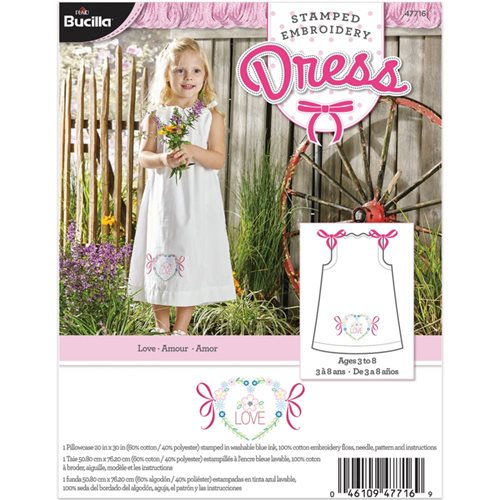 Bucilla ® Stamped Cross Stitch & Embroidery - Pillowcase Dress - Love