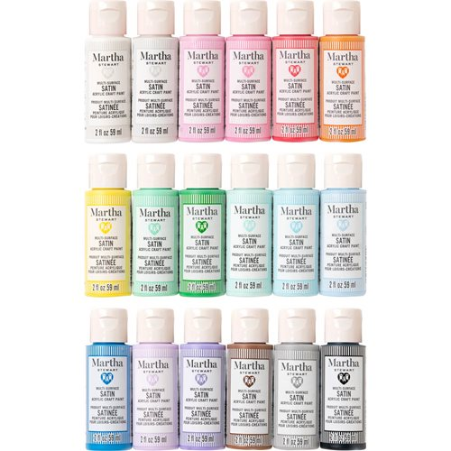 Martha Stewart ® Family Friendly Multi-Surface Satin Acrylic Craft Paint 18-Color Best of Paint Set