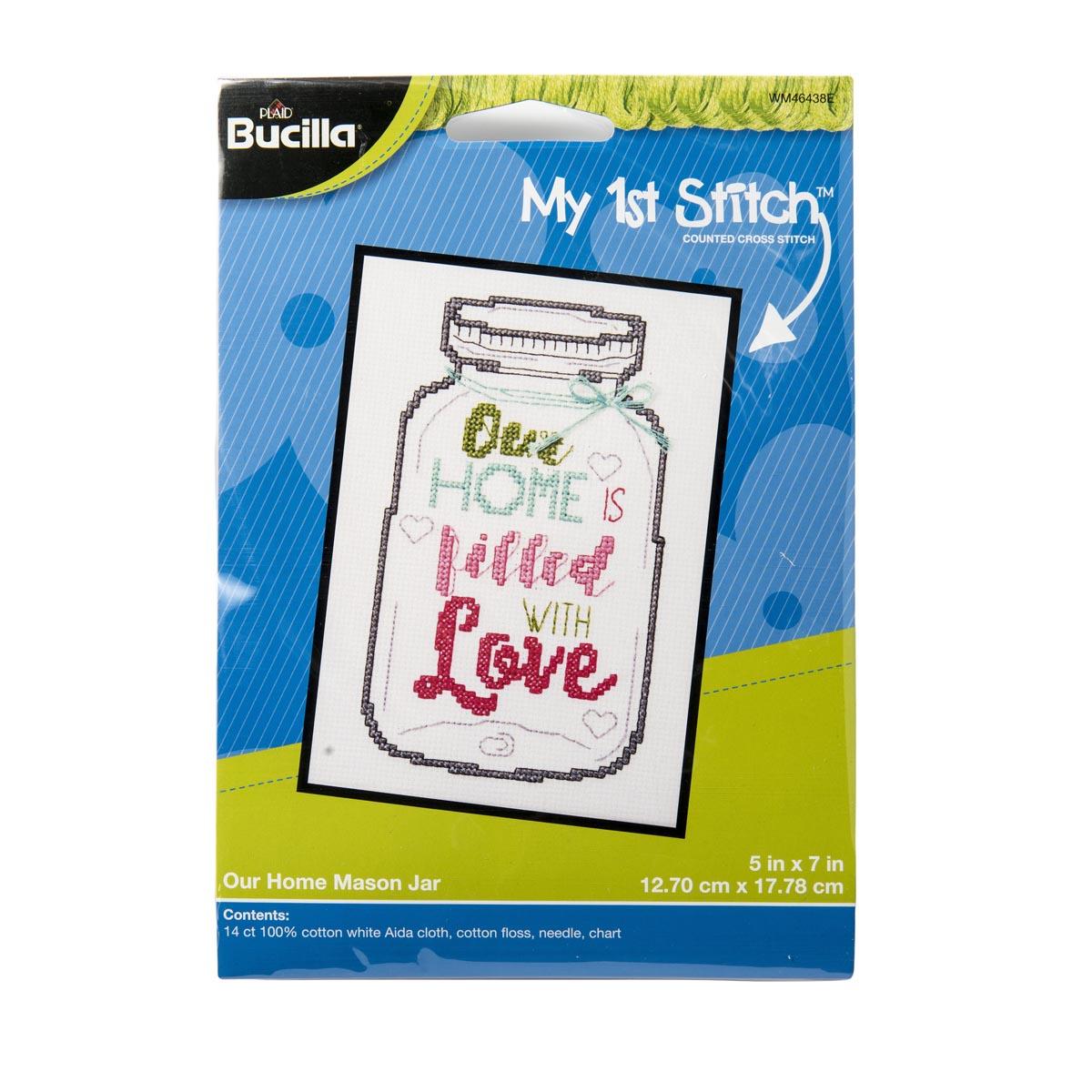 Bucilla ® My 1st Stitch™ - Counted Cross Stitch Kits - Our Home Mason Jar