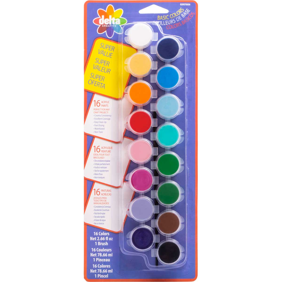 Delta Ceramcoat ® Paint Super Value Set - Basic, 16 Colors - 029575056