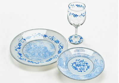 Decoupaged Toile Plate Set