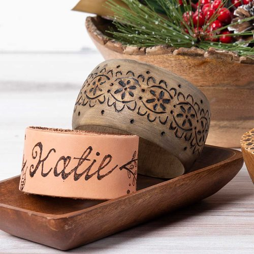 Wood Burned Bangle and Leather Cuff DIY Gift
