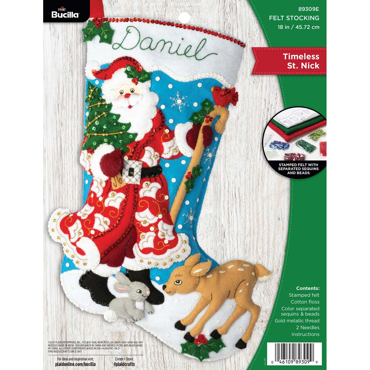 Bucilla ® Seasonal - Felt - Stocking Kits - Timeless St. Nick - 89309E
