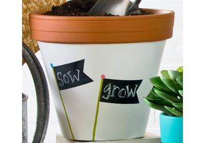 FolkArt Chalkboard Paint Label Clay Pot
