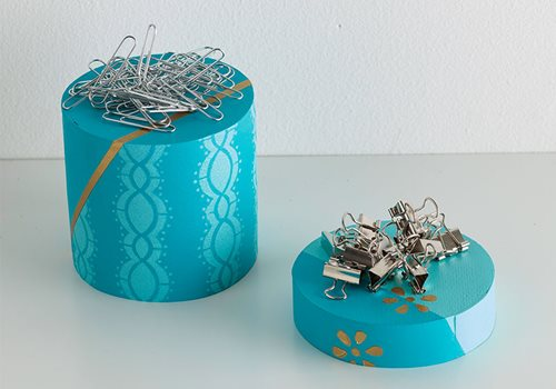 Stenciled Paper Clip Holder - DIY Office Supplies