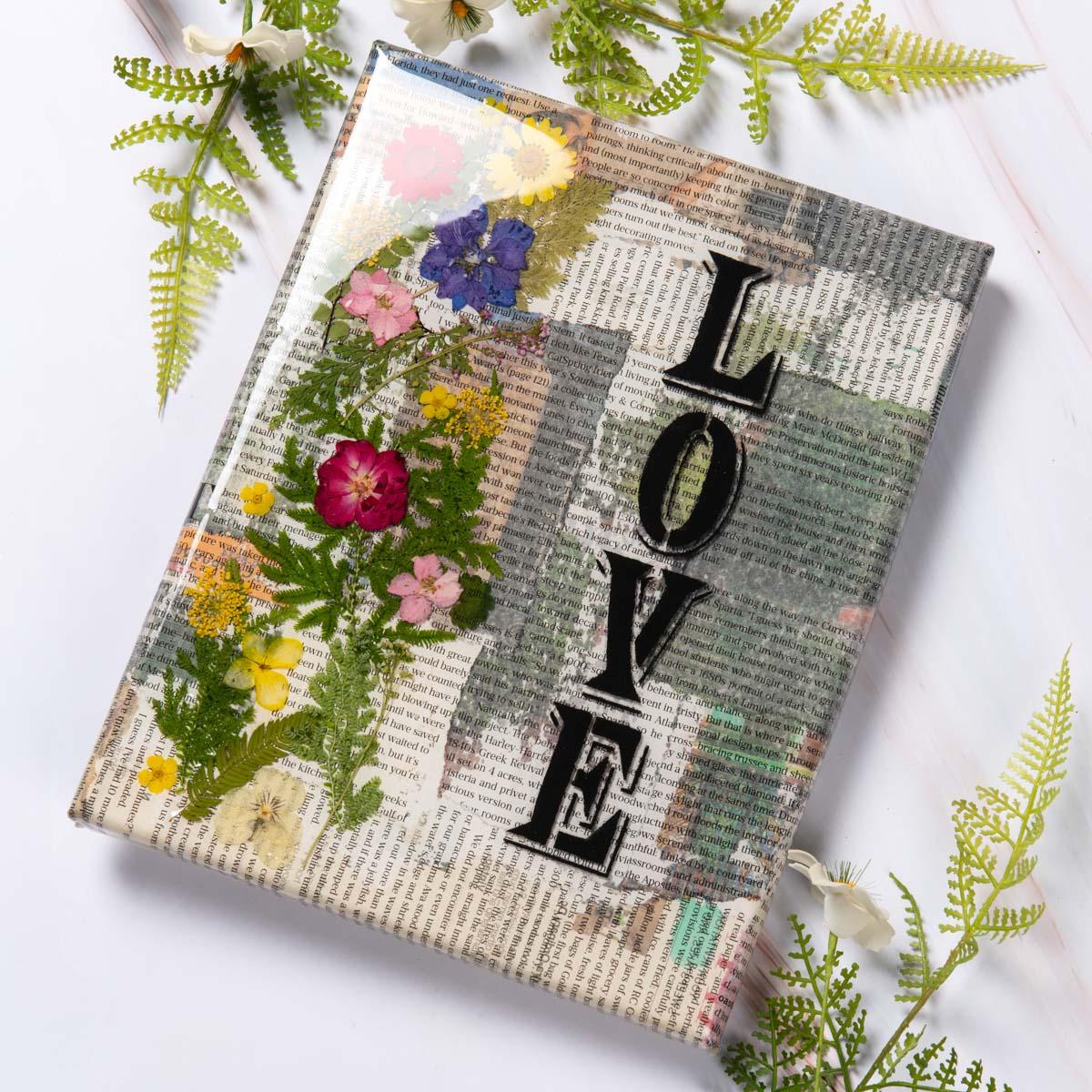 """Love"" Resin Newspaper Canvas"