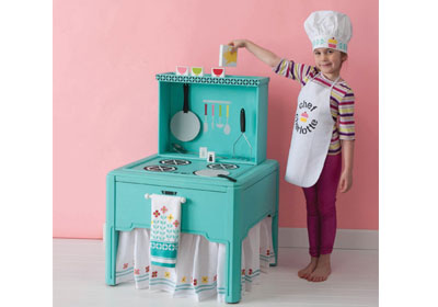 Handmade Charlotte Kids Kitchen Stove, Chef Hat and Apron