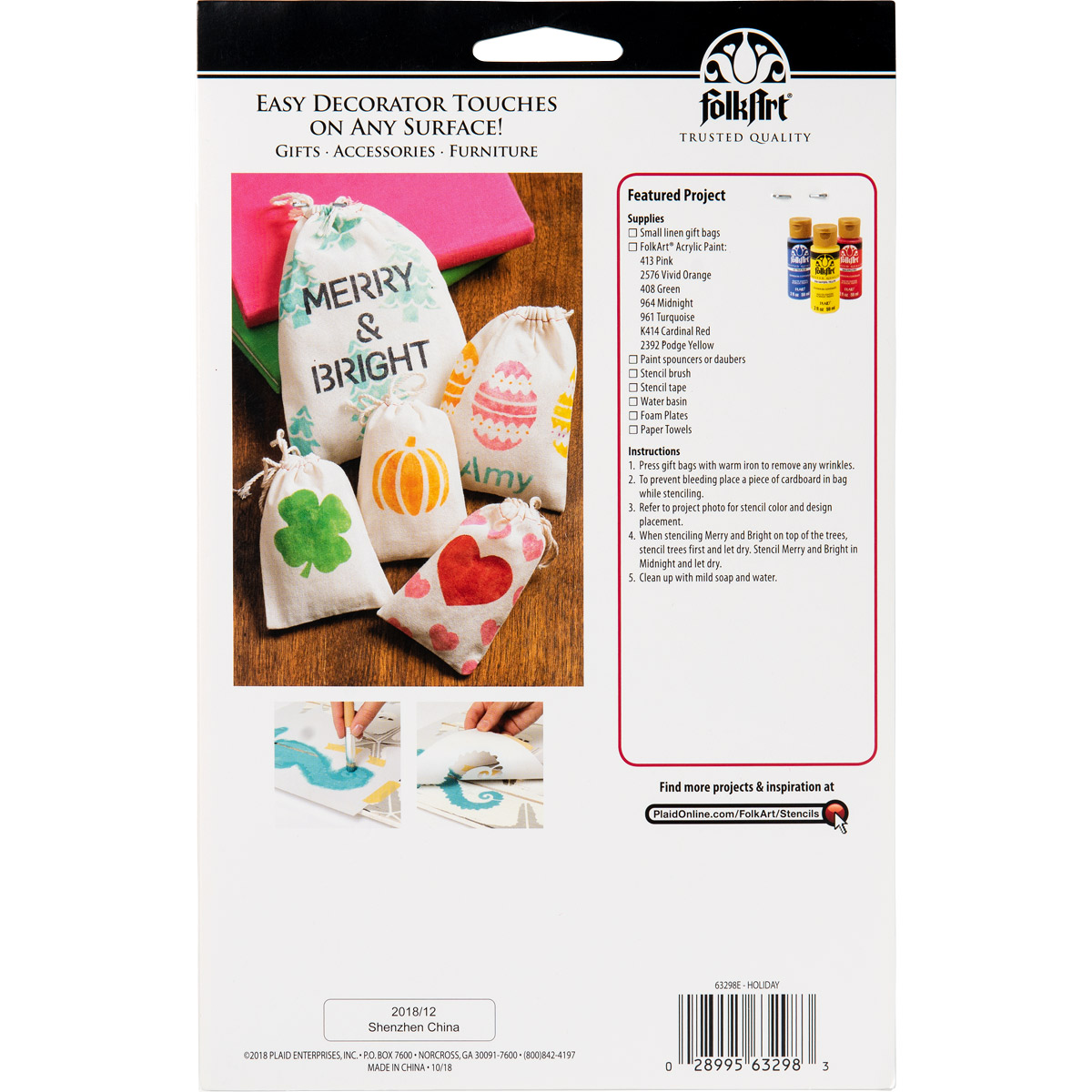 FolkArt ® Stencil Value Packs - Holiday, 6