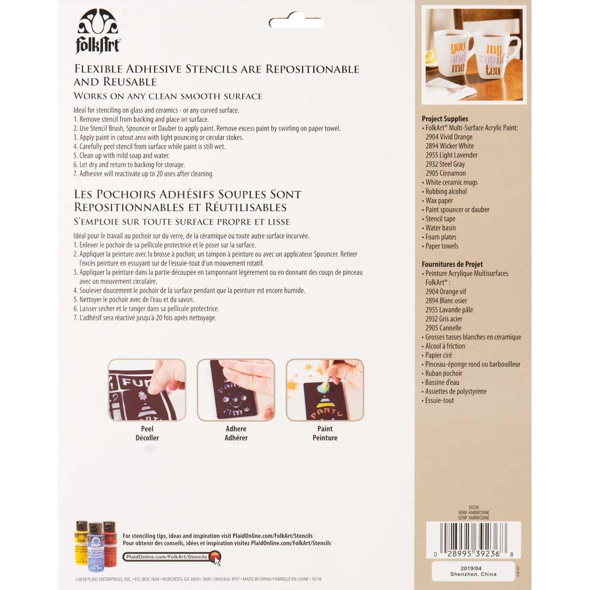 FolkArt ® Laser Cut Adhesive Stencils - Serif Ambrosine - 39236