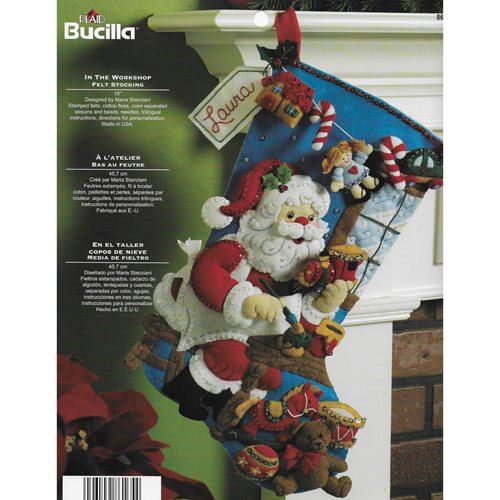 Bucilla ® Seasonal - Felt - Stocking Kits - Santa In the Workshop - 86165