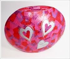 Tissue Paper Valentine Vase