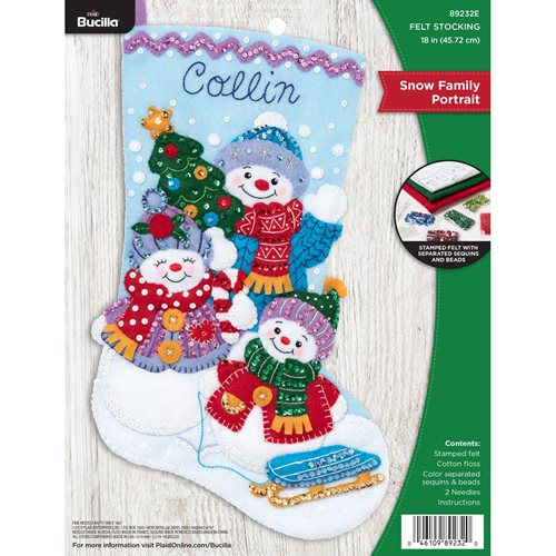 Bucilla ® Seasonal - Felt - Stocking Kits - Snow Family Portrait - 89232E