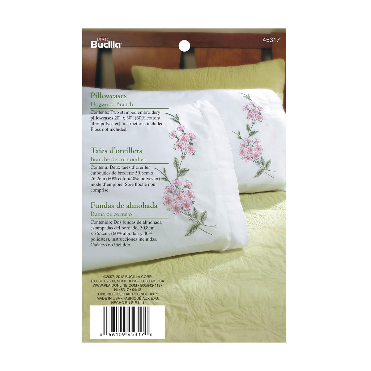 Bucilla ® Stamped Cross Stitch & Embroidery - Pillowcase Pairs - Dogwood Branch - 45317