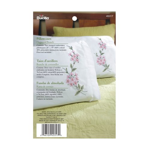 Bucilla ® Stamped Cross Stitch & Embroidery - Pillowcase Pairs - Dogwood Branch - 45317