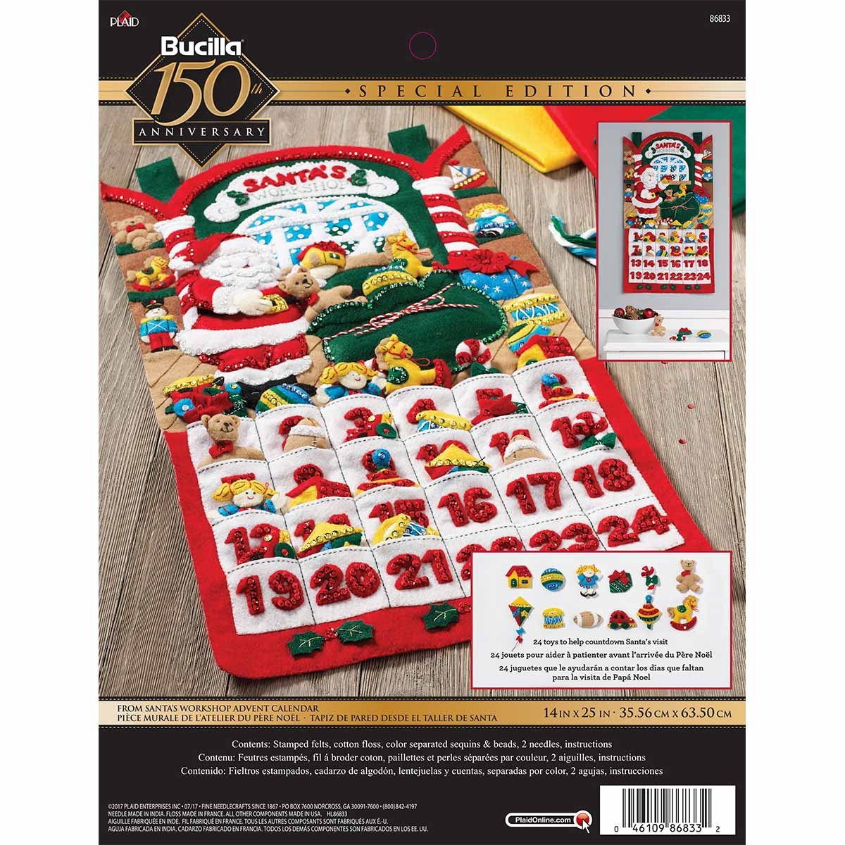 Bucilla ® Seasonal - Felt - Home Decor - Advent Calendar Kits - Santa's Workshop