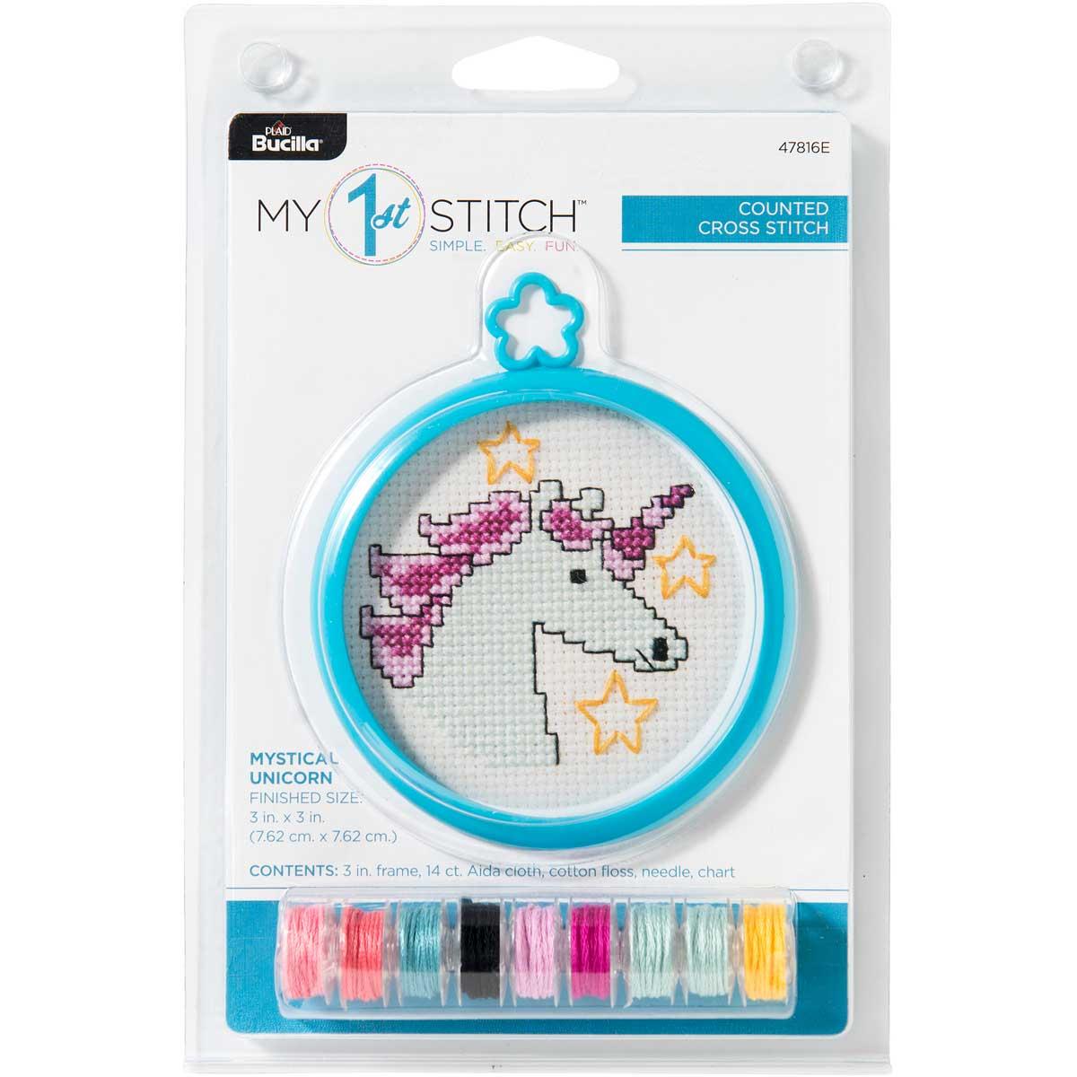 Bucilla ® My 1st Stitch™ - Counted Cross Stitch Kits - Mini - Mystical Unicorn - 47816E