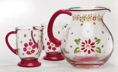 Floral Pitcher & Mugs