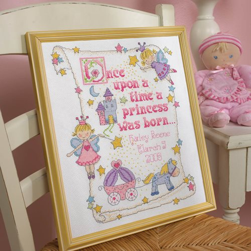 Bucilla ® Baby - Counted Cross Stitch - Crib Ensembles - Princess - Birth Record Kit