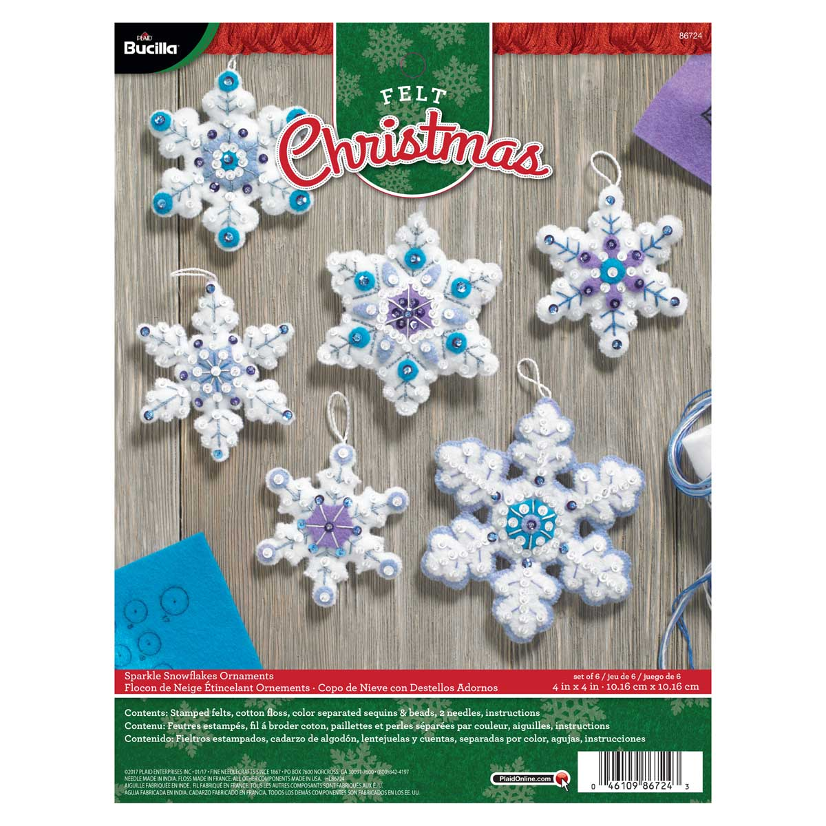 Bucilla ® Seasonal - Felt - Ornament Kits - Sparkle Snowflakes - 86724