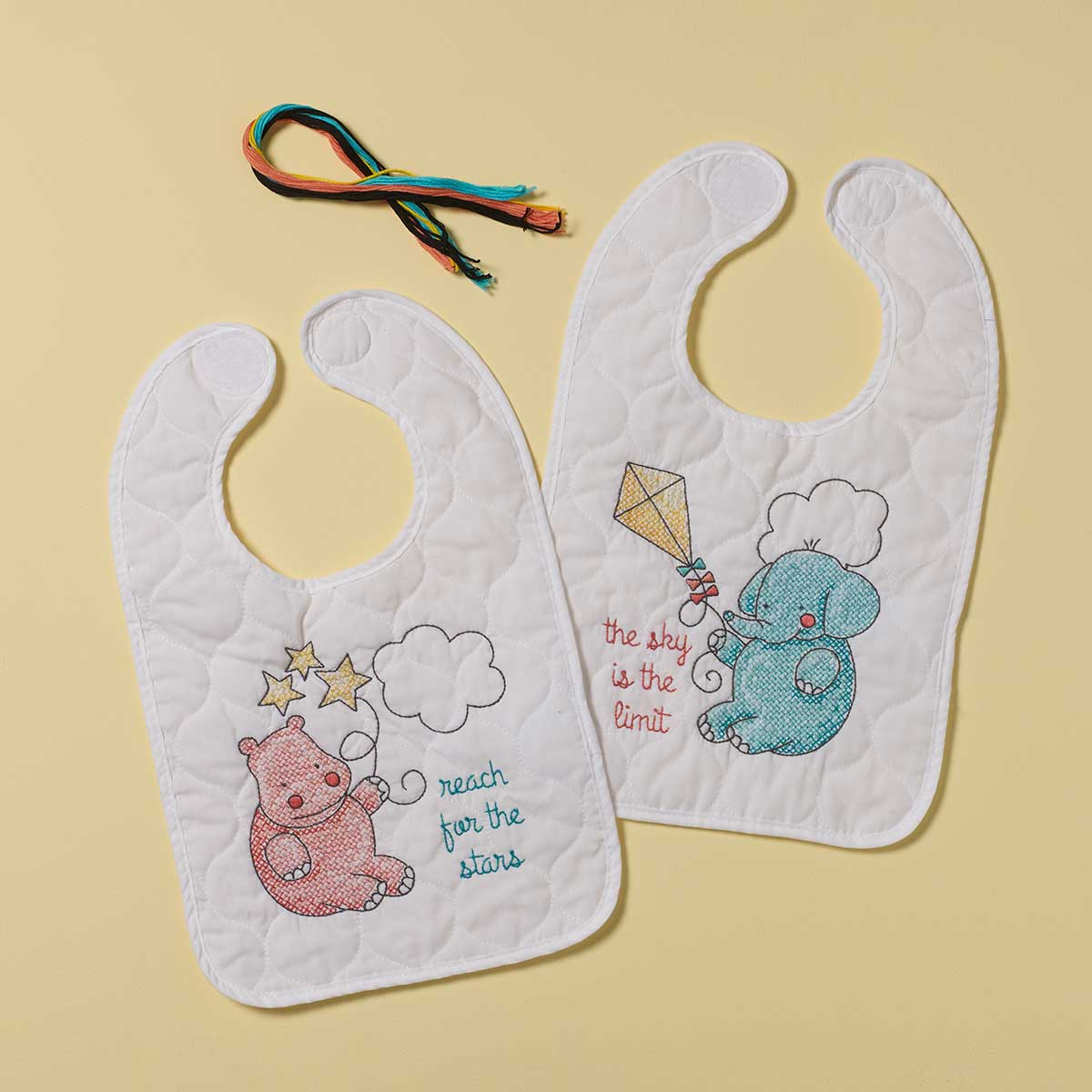 Bucilla ® Baby - Stamped Cross Stitch - Crib Ensembles - Up Up and Away - Bib Pair Kit