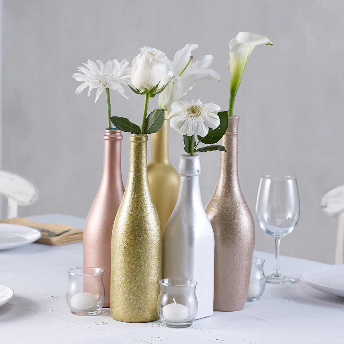 DIY Wedding Centerpiece - Metallic Bottles