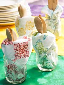 DIY Stamped Fabric Napkins