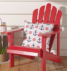 Painted Adirondack Chair with Throw Pillow