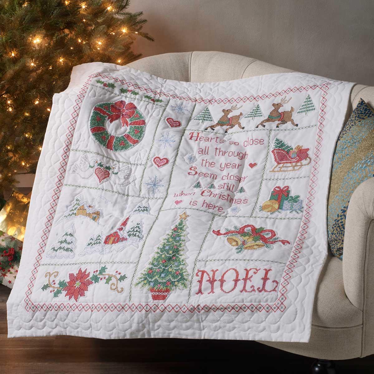 Bucilla ® Seasonal - Stamped Cross Stitch - Lap Quilt - Christmas Sampler - 86982E