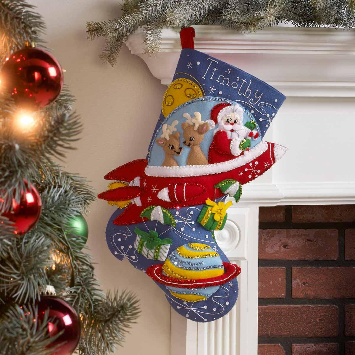 Bucilla ® Seasonal - Felt - Stocking Kits - Rocket Ship Santa - 89237E