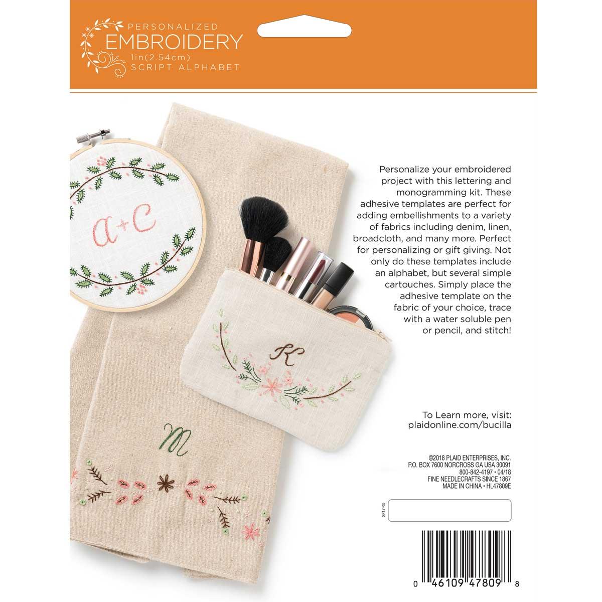 Bucilla ® Stamped Embroidery - Lettering & Monogramming Template - Script Font - 47809E