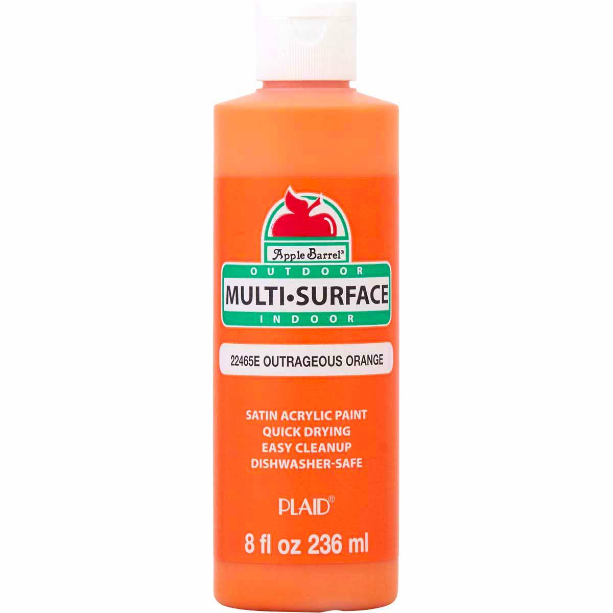 Apple Barrel ® Multi-Surface Satin Acrylic Paints - Outrageous Orange, 8 oz. - 22465E