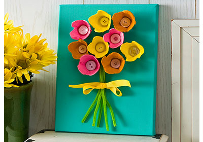 Egg Carton Flower Canvas with Apple Barrel Paints