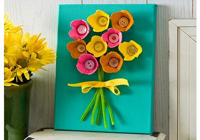 Egg Carton Flower Canvas with Apple Barrel Paints