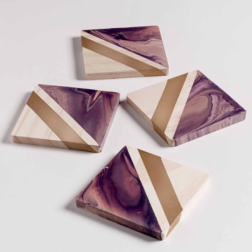 Mod Podge Gloss Spray Marbled Coasters