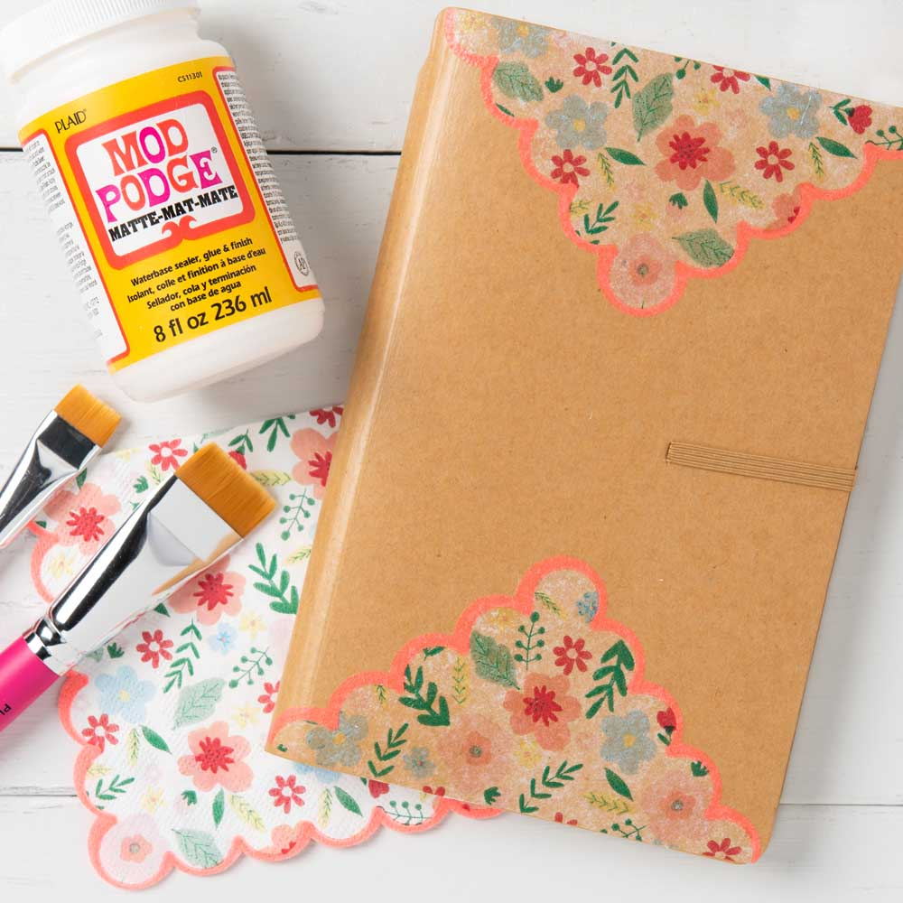 DIY Napkin Decoupage Idea - Decorated Notebook
