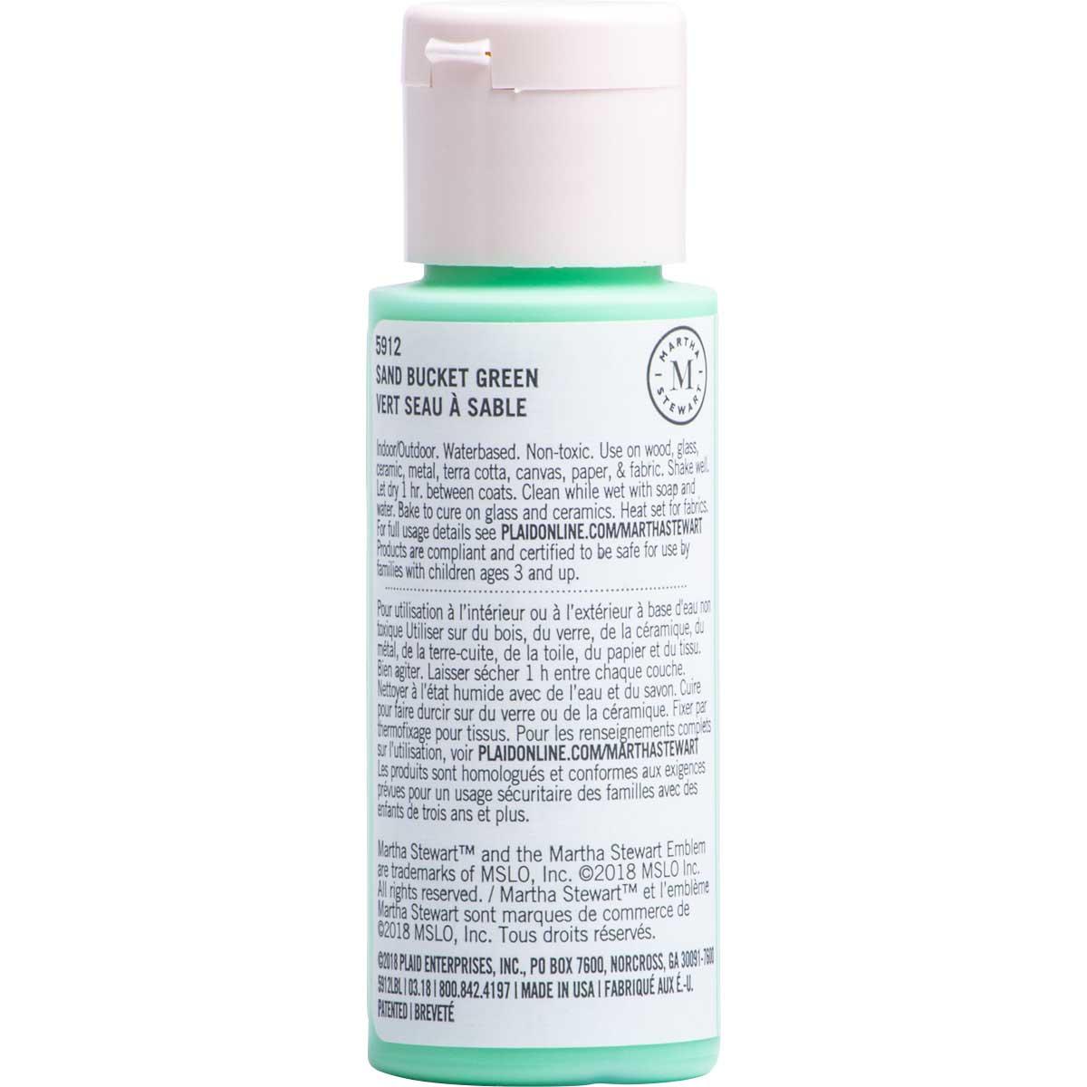 Martha Stewart ® Multi-Surface Satin Acrylic Craft Paint CPSIA - Sand Bucket Green, 2 oz. - 5912