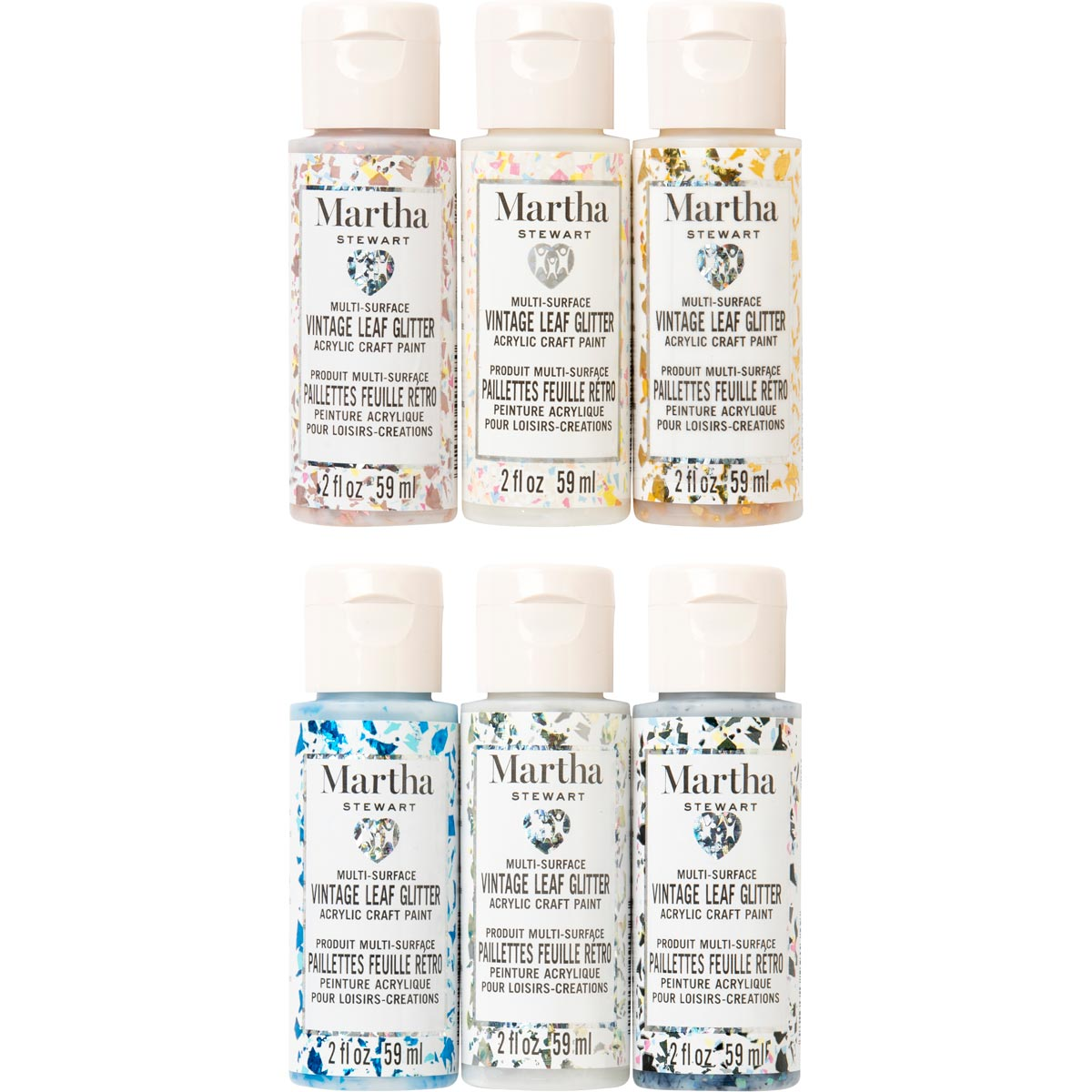 Martha Stewart ® Family Friendly Multi-Surface Vintage Leaf Glitter Acrylic Craft Paint 6-Color Set