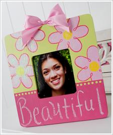 Girl's Chalkboard Flower Frame