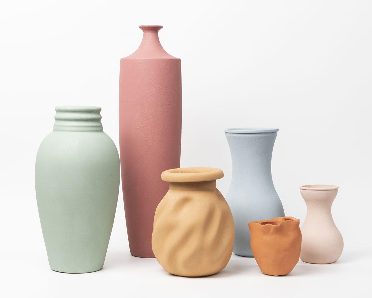 Various Terra Cotta Painted Vases