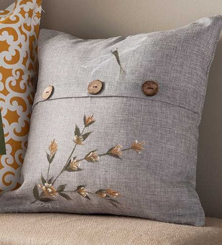 Dragonfly and Wildflower Throw Pillow
