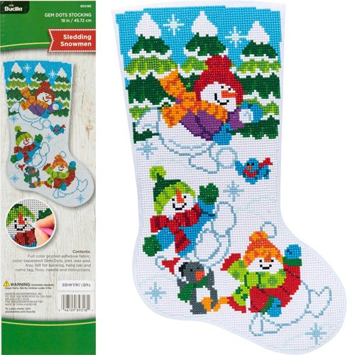 Bucilla ® Seasonal - Gem Dots - Stocking Kits - Sledding Snowman - 89318E