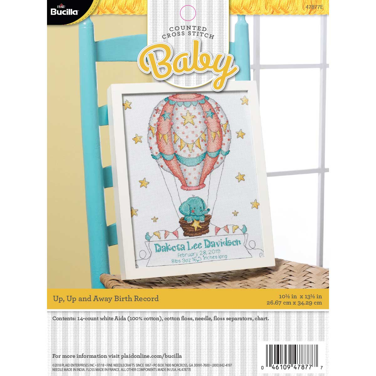 Bucilla ® Baby - Counted Cross Stitch - Crib Ensembles - Up Up and Away - Birth Record Kit - 47877E