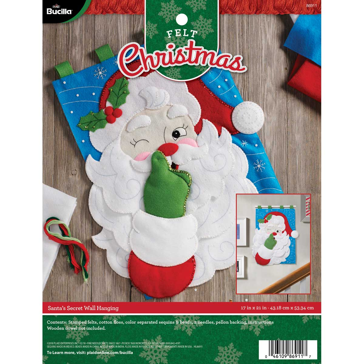 Bucilla ® Seasonal - Felt - Home Decor - Santa's Secret Wall Hanging - 86911