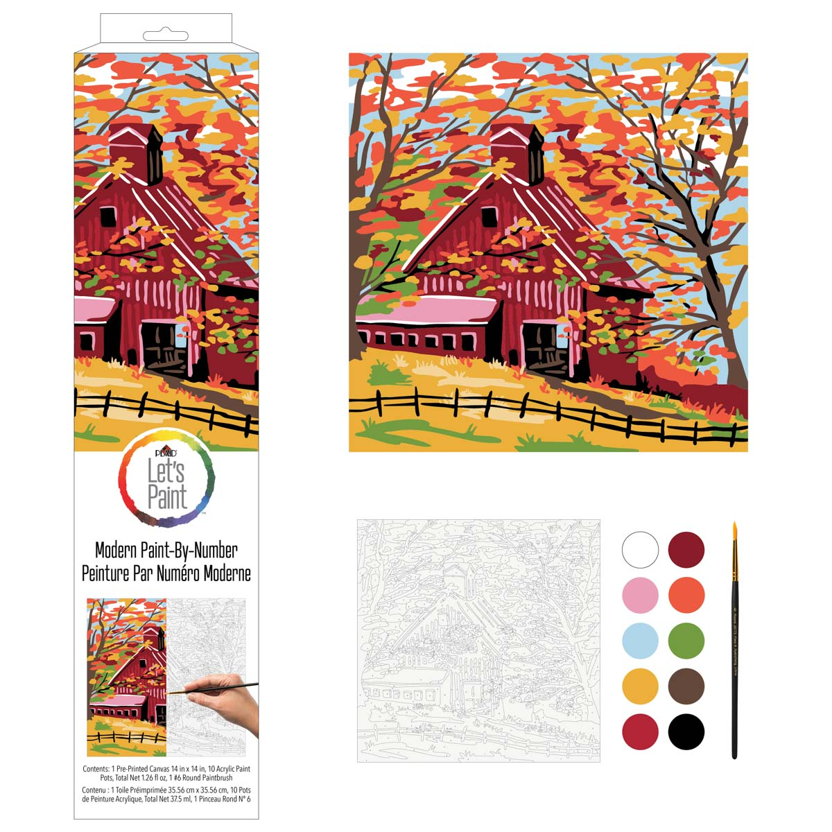 Plaid ® Let's Paint™ Modern Paint-by-Number - Fall Barn - 17916