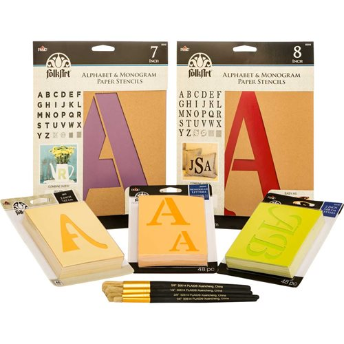 FolkArt ® Ultimate Paper Alphabet Stencil and Brush Kit