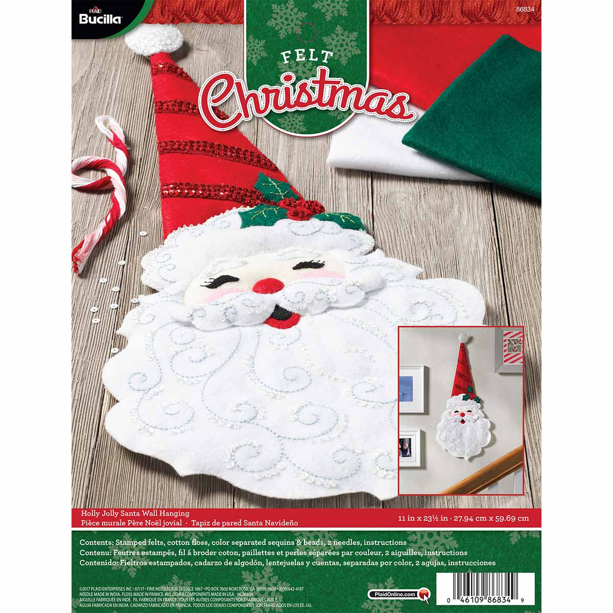 Bucilla ® Seasonal - Felt - Home Decor - Door/Wall Hanging Kits - Holly Jolly Santa